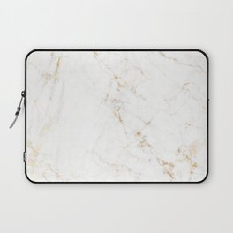 White Marble with Delicate Gold Veins Laptop Sleeve