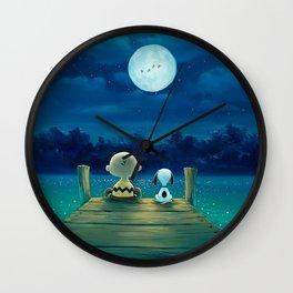 snoopy night moon Wall Clock