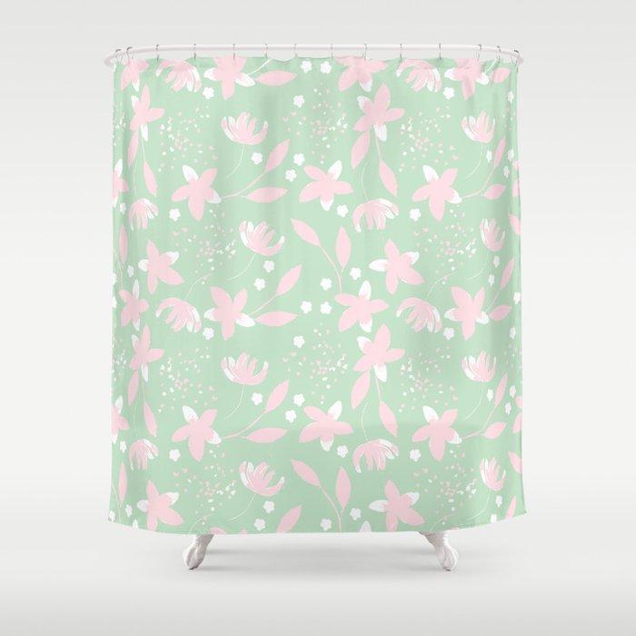Pastel little flowers Shower Curtain