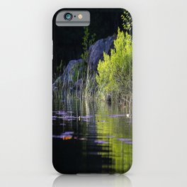 Spring Green Reflection Dark Water #decor #society6 #buyart iPhone Case