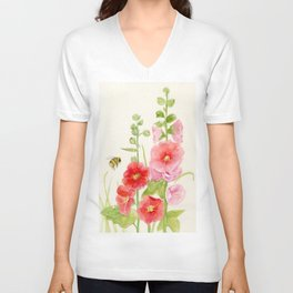 Watercolor Flower Pink Hollyhock and Bee Unisex V-Neck