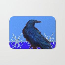 BLUE CROW WINTER SNOWFLAKE ART Bath Mat