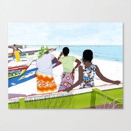 Women on the beach Canvas Print