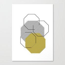 Geometric - Hexagon, Black & Yellow Canvas Print