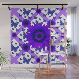 PURPLE FLORALS TEAL BUTTERFLY WHITE PATTERNS Wall Mural