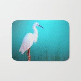 Egret in teal Bath Mat
