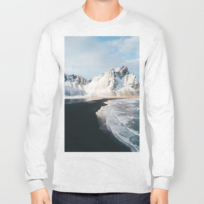 Iceland Mountain Beach - Landscape Photography Long Sleeve T-shirt
