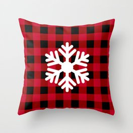 Snowflake - red buffalo check - more colors Throw Pillow