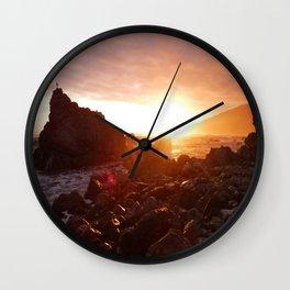Big Sur's Rocky Shore Sunset Wall Clock