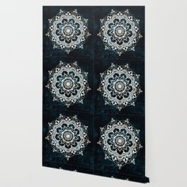 Glowing Spirit Mandala Blue White Wallpaper