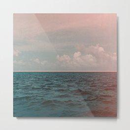 Turquoise Ocean Peach Sunset Metal Print