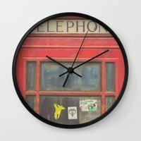 telephone Wall Clocks featuring Telephone by Benjamin Robles Art