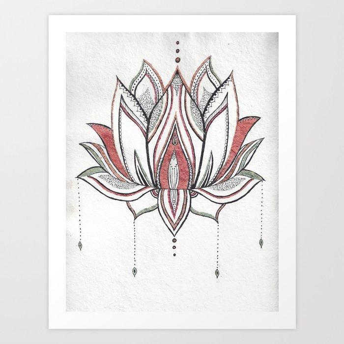 Handmade Watercolor Lotus Mandala Art Print By Sparksartisticdesign Society6