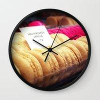 macaron Wall Clocks featuring Macaron by Emily Werboff