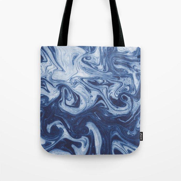 Yutaka - spilled ink marbled paper marbling swirl india ink minimal modern blue indigo pattern Tote Bag