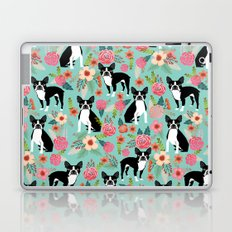 Floral Boston Terrier cute flowers spring bouquet love valentines day black and white mint dogs Laptop & iPad Skin