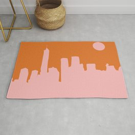 Cityscape NYC - Minimalist Abstract Manhattan City View in Retro Pink and Orange Rug