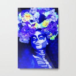 Roses & Blue Metal Print