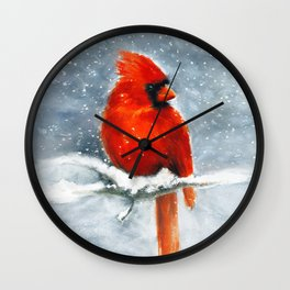 Northern Cardinal in the snow Wall Clock