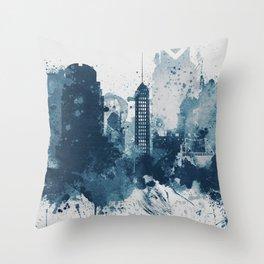 Blue Sacramento watercolor skyline Throw Pillow