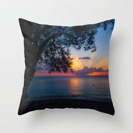 Ocean Island Sunset Throw Pillow
