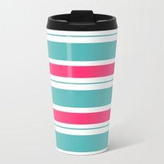 Turquoise And Fuschia Hot Pink Stripes Metal Travel Mug
