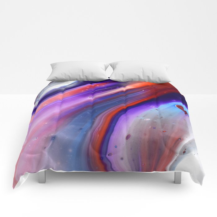 Applause Flow - Vibrant Colorful Rainbow Acrylic Fluid Painting Swirls Blue Red Purple Comforters