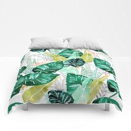 Tropical jungle white Comforters