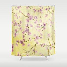 Sakura - Cherryblossoms on yellow Shower Curtain