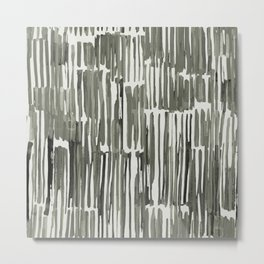 Simply Bamboo Brushstroke Green Tea on Lunar Gray Metal Print