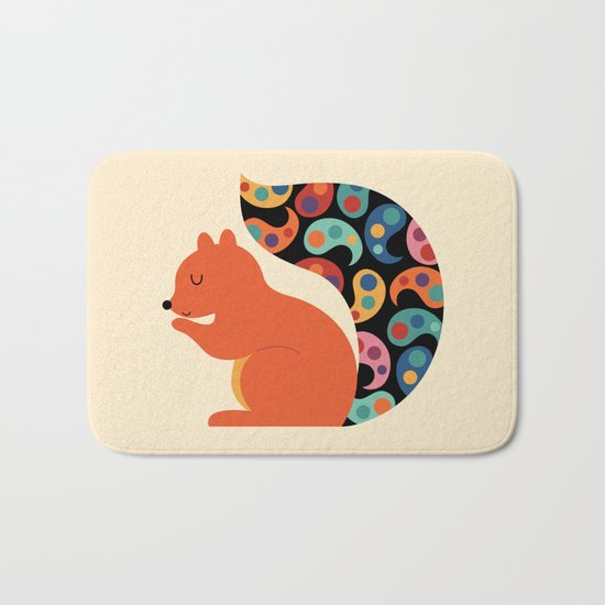 Paisley Squirrel Bath Mat