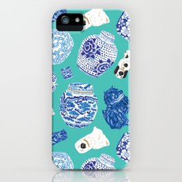 Chinoiserie Curiosity Cabinet Toss 6 iPhone Case