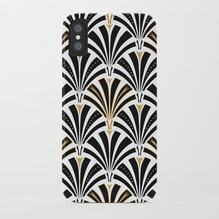 Art Deco Fan Pattern, Black and White iPhone Case