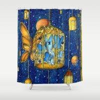 lanterns Shower Curtains featuring Lanterns by Anca Chelaru