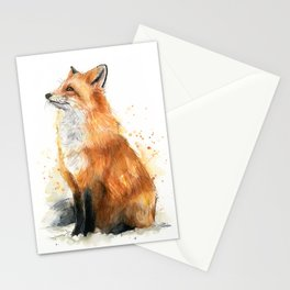 Fox Watercolor Red Fox Painting Stationery Cards