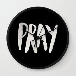 Pray Typography II Wall Clock