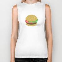 hamburger Biker Tanks featuring Hamburger by brittcorry