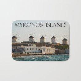 Picturesque Windmills on Mykonos Island Greece Bath Mat