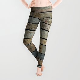 distressed wood wall - Blue and brown planks Leggings