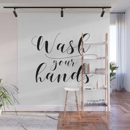 Bathroom Printable, Wash Your Hands, home decor, Bathroom Sign, Bathroom Art, Bathroom Rules Wall Mural