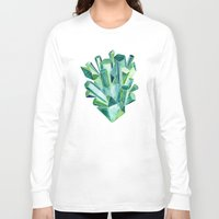 emerald Long Sleeve T-shirts featuring Emerald Watercolor by Cat Coquillette