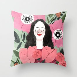 Among Flowers Throw Pillow