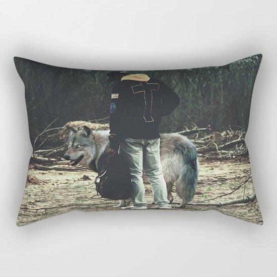 Kid with wolf Rectangular Pillow