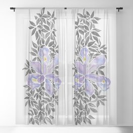 Iris and Butterfly Weeds - Purple & Black Palette Sheer Curtain