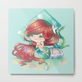 Ariel Chibi, The Little Mermaid Metal Print