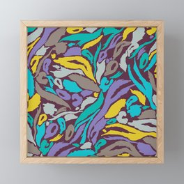 Animal Print - Turquoise And Gold Framed Mini Art Print
