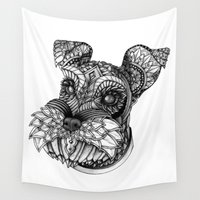 schnauzer Wall Tapestries featuring Ornate Schnauzer by Adrian Dominguez