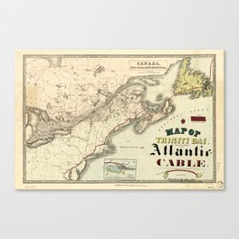 Map of Trinity Bay, Telegraph Station of the Atlantic-Cable (1901) Canvas Print