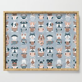 Doggie Coffee and Tea Time I // blue grey Serving Tray