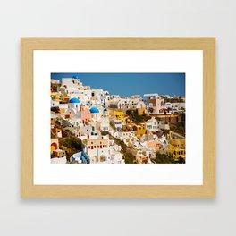 Homes On The Hillside (Santorini, Greece) Framed Art Print